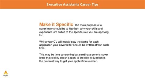 writing a winning cover letter executive assistant career tips 5 tips for writing a
