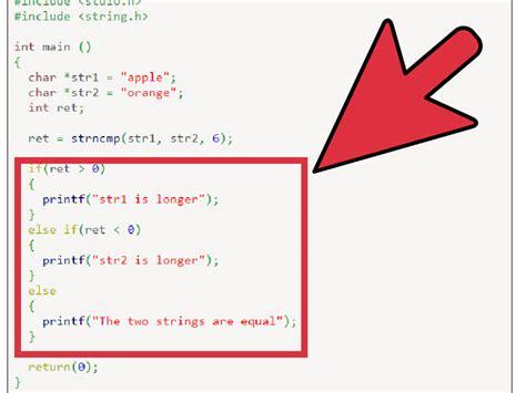 libreria string h bei der programmierung in c zwei zeichenketten vergleichen