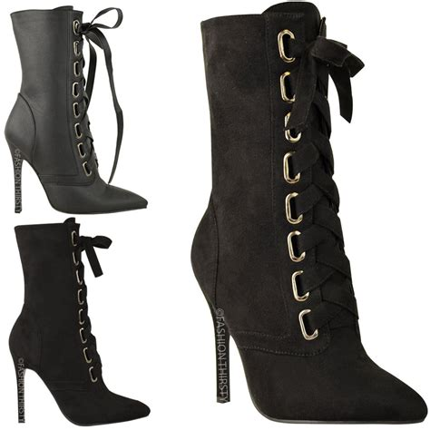 womens lace up stilettos high heels boots ankle