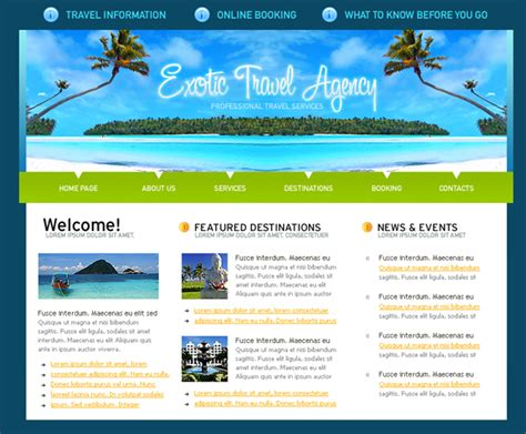 Designs Article Free Xhtml Css Templates For Different Websites Travel Website Template