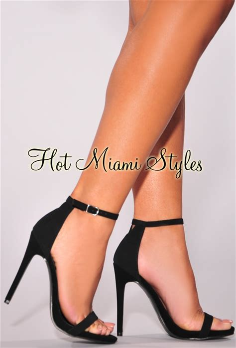 black high heels with straps black faux suede open toe ankle high heel sandals