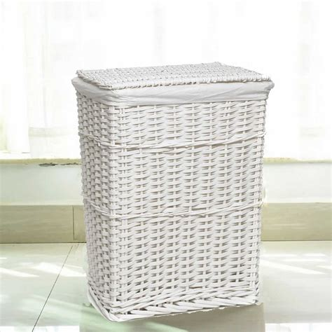 White Rectangular Wicker Laundry Bin Storage Basket W Lid Wicker Laundry With Lid