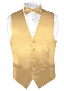 biagio s solid gold color silk dress vest bow tie set