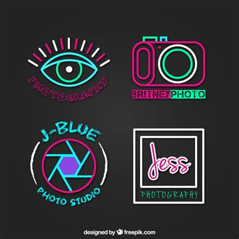 colorful photography studio logos vector free download