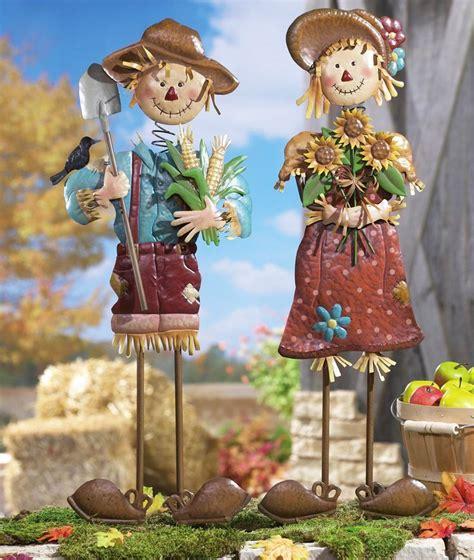 seasonal fall yard art scarecrow couple 29 metal scarecrow garden stake each sold separately