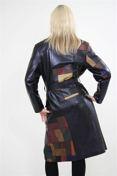 Patchwork Leather Coat - vintage 70s boho mod patchwork leather coat jacket coats