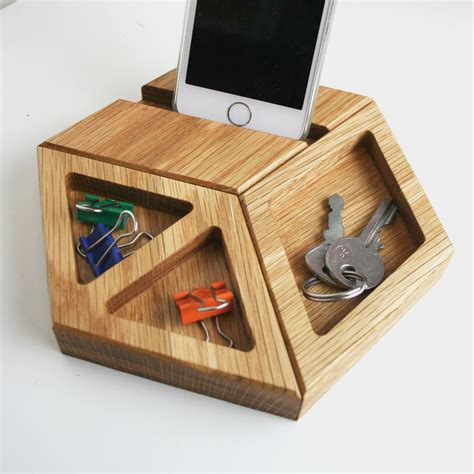 Modern Desk Tidy Hexagon Shaped Tessellating Modular Solid Oak Desk Tidy And Phone Holder With A Range Of