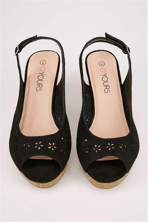 black floral laser cut slingback wedge sandal in true eee fit