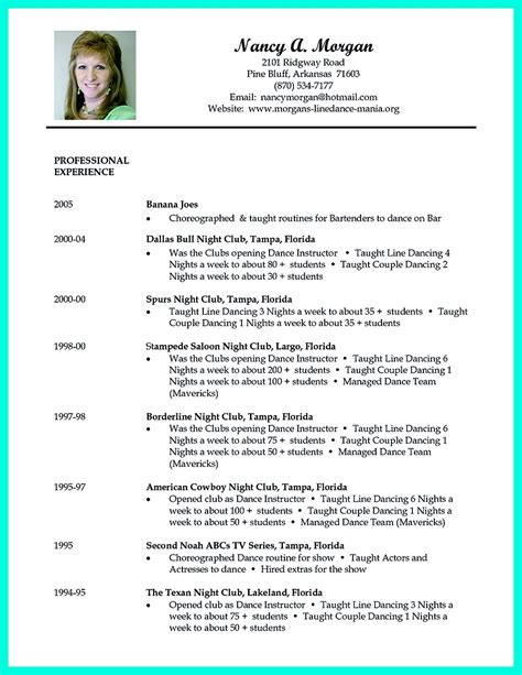 dancer resume template resume can be used for both novice and professional