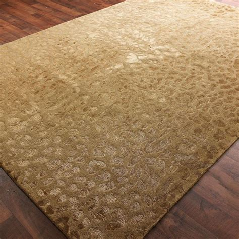 Tone On Tone Rug by Wool And Silk Carved Leopard Pattern Rug 2 Colors