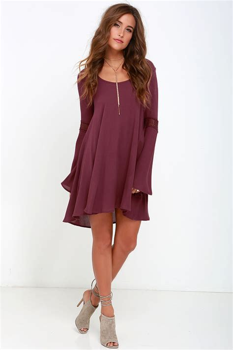 Ghaida Simple Choker Dress Maroon beautiful burgundy shift dress lace dress sleeve