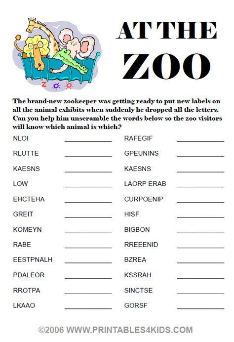 printable animal word scramble the zoo crew kids of character outreach project