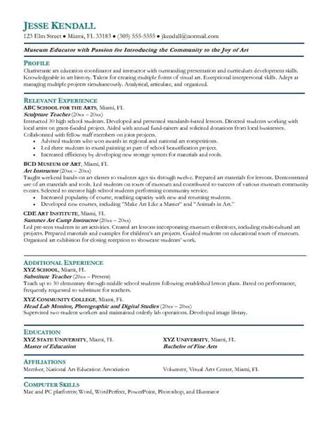 Artsy Resume Templates by Arts Resume Resume Ideas