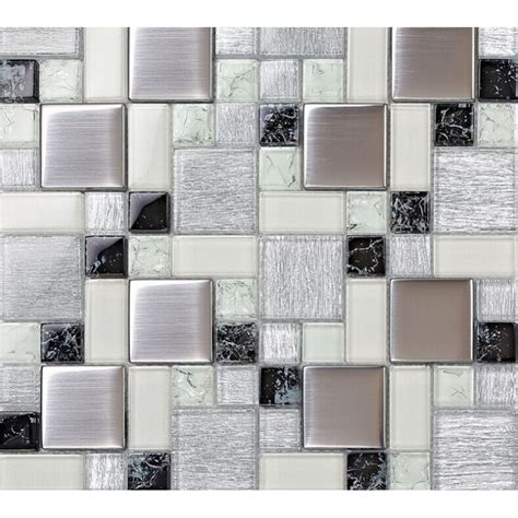crystal glass tile backsplash satin patterns silver plated