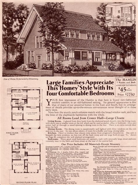 1930 Two Story Bungalow Hamlin By Wardway Kit Homes By Montgomery Ward House Plans