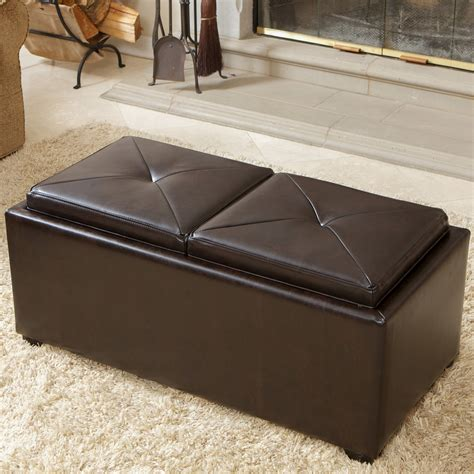 ottoman with tray table storage ottoman with tray top large faux leather storage