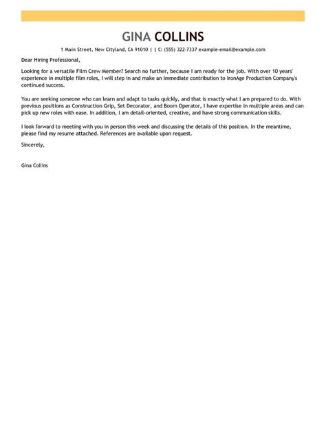 Entertainment Cover Letter by Crew Cover Letter Exles Media Entertainment Cover Letter Sles Livecareer