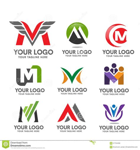 M Vector Logos Brand Logo - letter m logo set stock vector illustration of banking