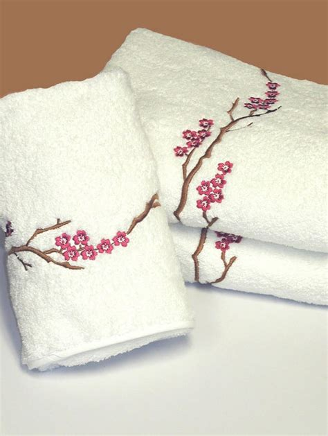 Martha Stewart Table Linens - luxury embroidered bath towels oriental blossom bath linens