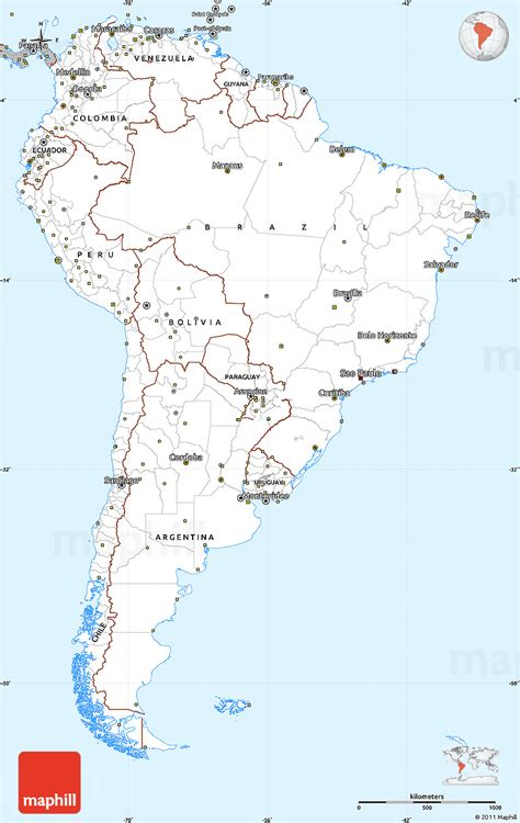 simple map of gray simple map of south america
