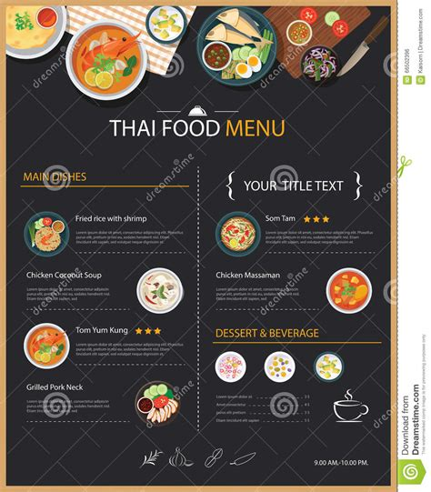 thai food restaurant menu template flat design download