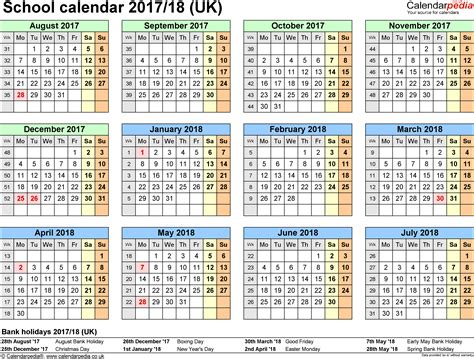 Calendar 2018 Uk School Holidays School Calendars 2017 2018 As Free Printable Pdf Templates