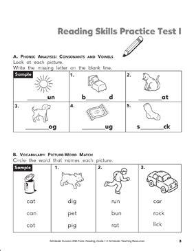 Reading Skills Practice Test 1 Grade 1 Printable Test