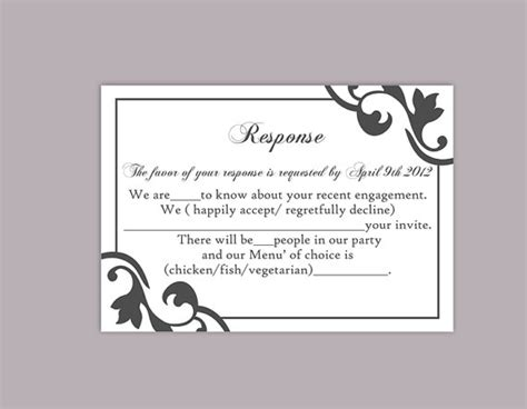 Rsvp Cards Templates Microsoft by Diy Wedding Rsvp Template Editable Text Word File Instant