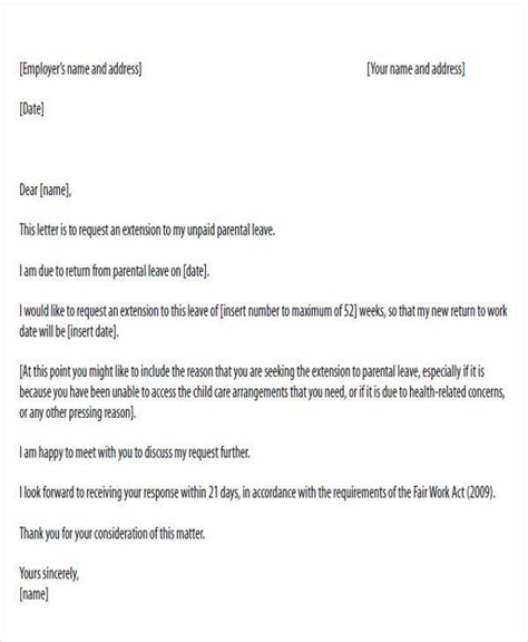 paternity leave letter template 28 images sle