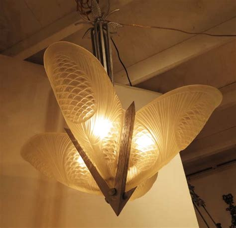French Art Deco Noverdy Slip In Shade Pine Cone Chandelier Pine Cone Chandelier