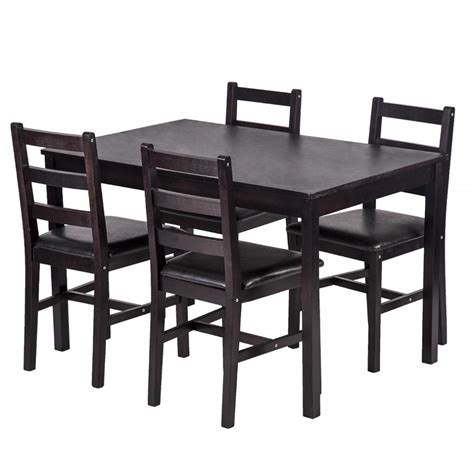 pine wood dining table set 5pcs dining table set pine wood kitchen dinette table with