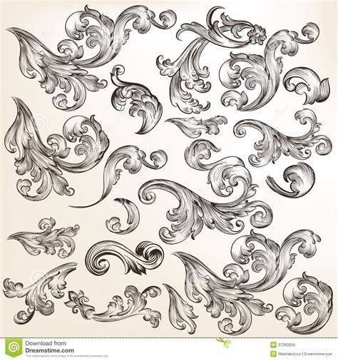 vintage floral elements for design vector stock vector floral set of decorative swirl elements in vintage style