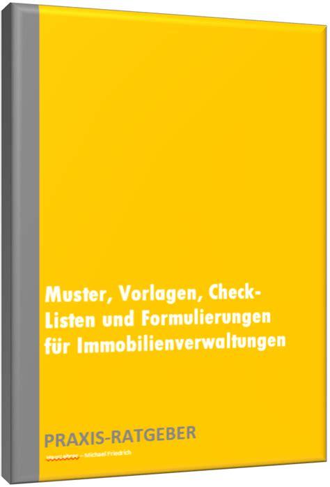 Musterbriefe Vorlagen Und Formulierungen Muster Vorlagen Check Listen F 252 R Immobilienverwaltungen Produkte Vorlagen Muster Co F 252 R
