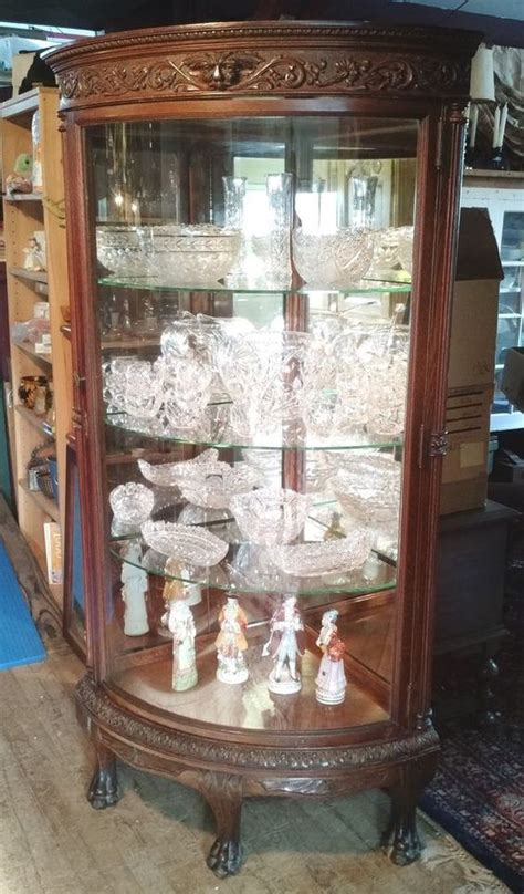 glass mirrored china cabinet antique 1890 victorian oak mirrored lions paw corner china