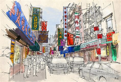 Handmade New York - chinatown manhattan sketch colorful handmade drawing of