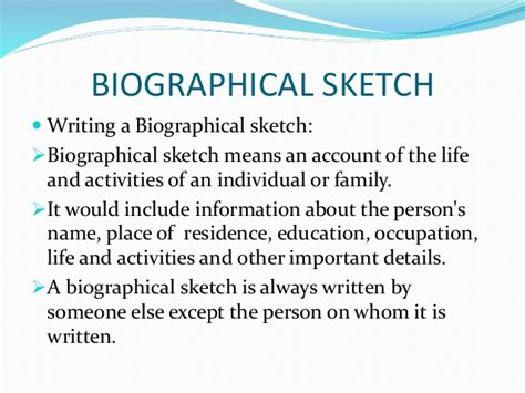 how to write a biographical sketch example
