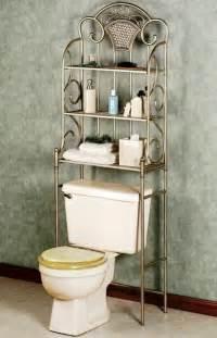 Shabby chic three level over the toilet bathroom storage