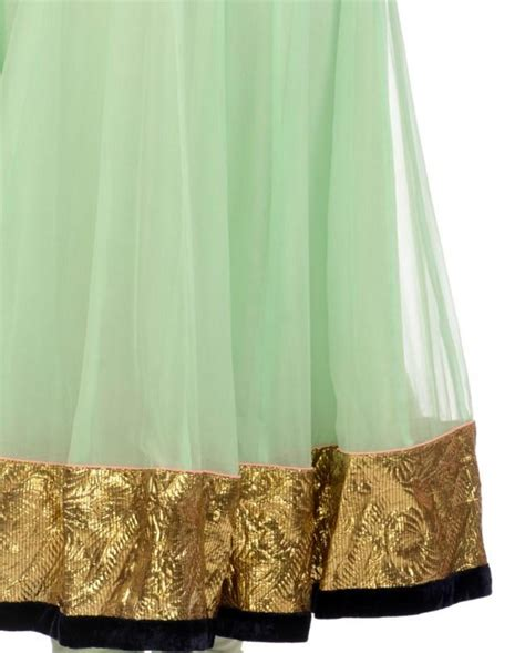 pista color pista green color long anarkali suit panache haute couture