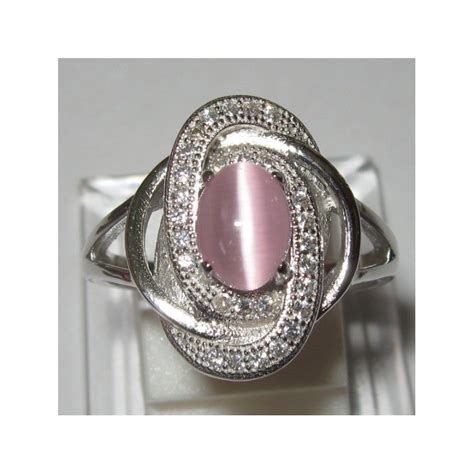 Cincin Cat Hijau Bulat cincin wanita cantik pink cat eye silver 925 size 7us