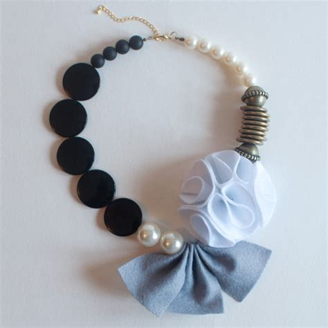 Handcrafted Accessories - grey felt fabric flower statement necklace handmade wool