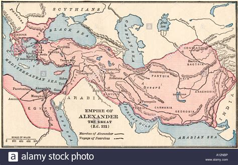 the great empire map of the empire of the great in 323 bc stock