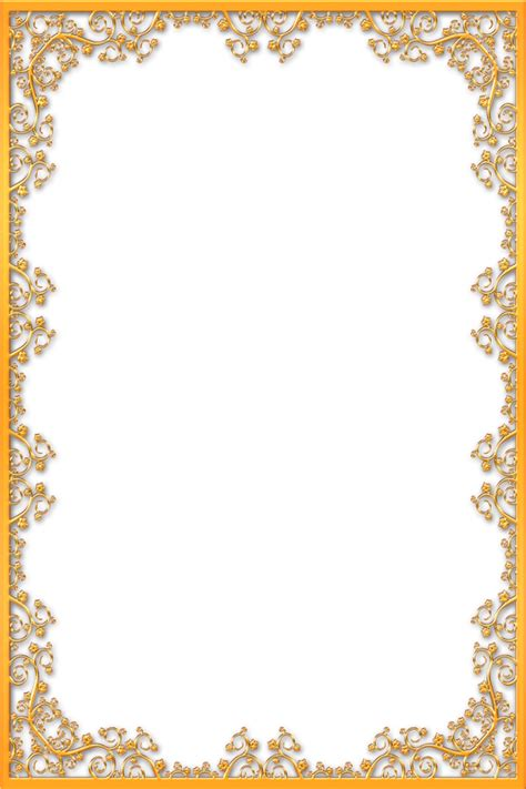 Set Bunga Golden gold border clipart images