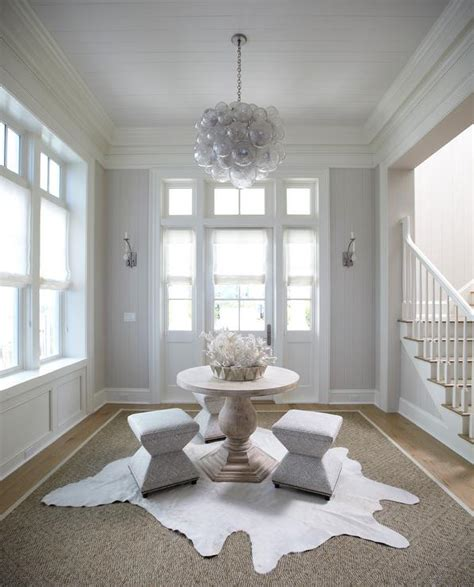 Oly Chandelier Foyer With Gray Shiplap Walls Design Ideas