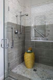 bathroom shower with seamless doors large grey tile for