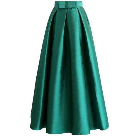 chicwish bowknot pleated maxi skirt in green 39