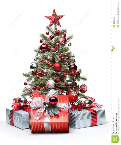 decorated christmas tree  gifts royalty  stock  image