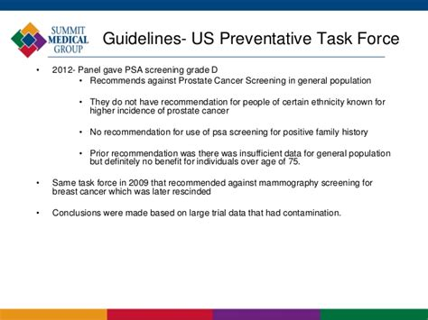 prostate screening guidelines prostate cancer and screening