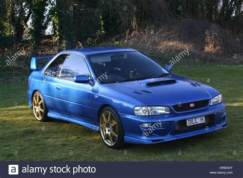subaru stock turbo subaru impreza turbo 22b blue saloon family car fast