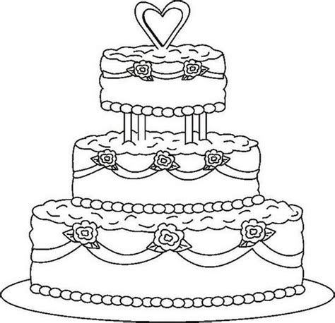 coloring page cake wedding cake coloring pages to printing