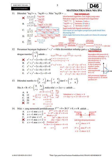 Matematika Sma 3 soal un matematika 3 sma ipa paket d46 ta 2011 2012